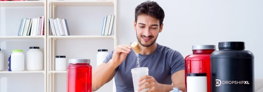 fitness supplement photo with guy preparing smoothy