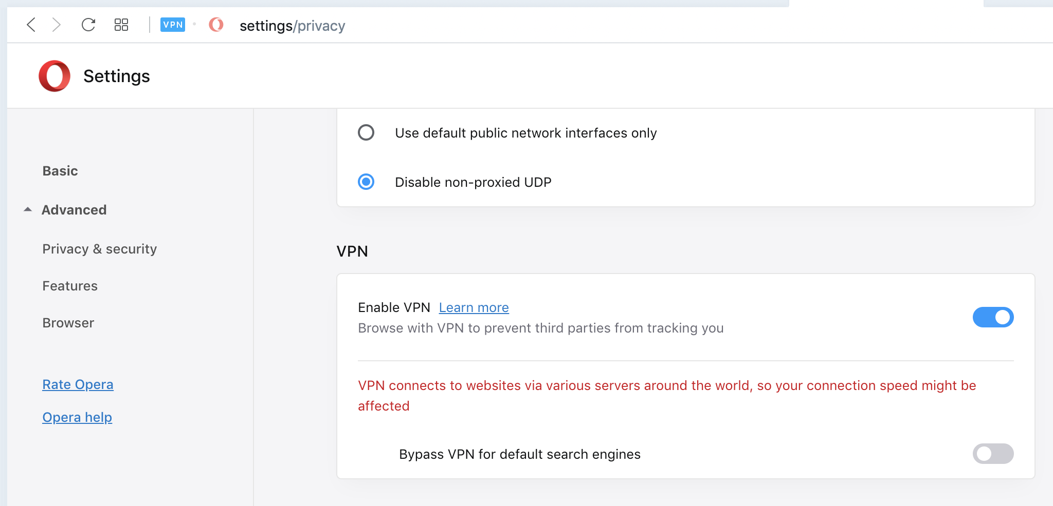 Opera VPN settings in privacy security area